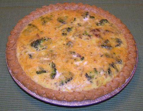Broccoli, Spinach, Bacon, Onion, and Cheese Quiche