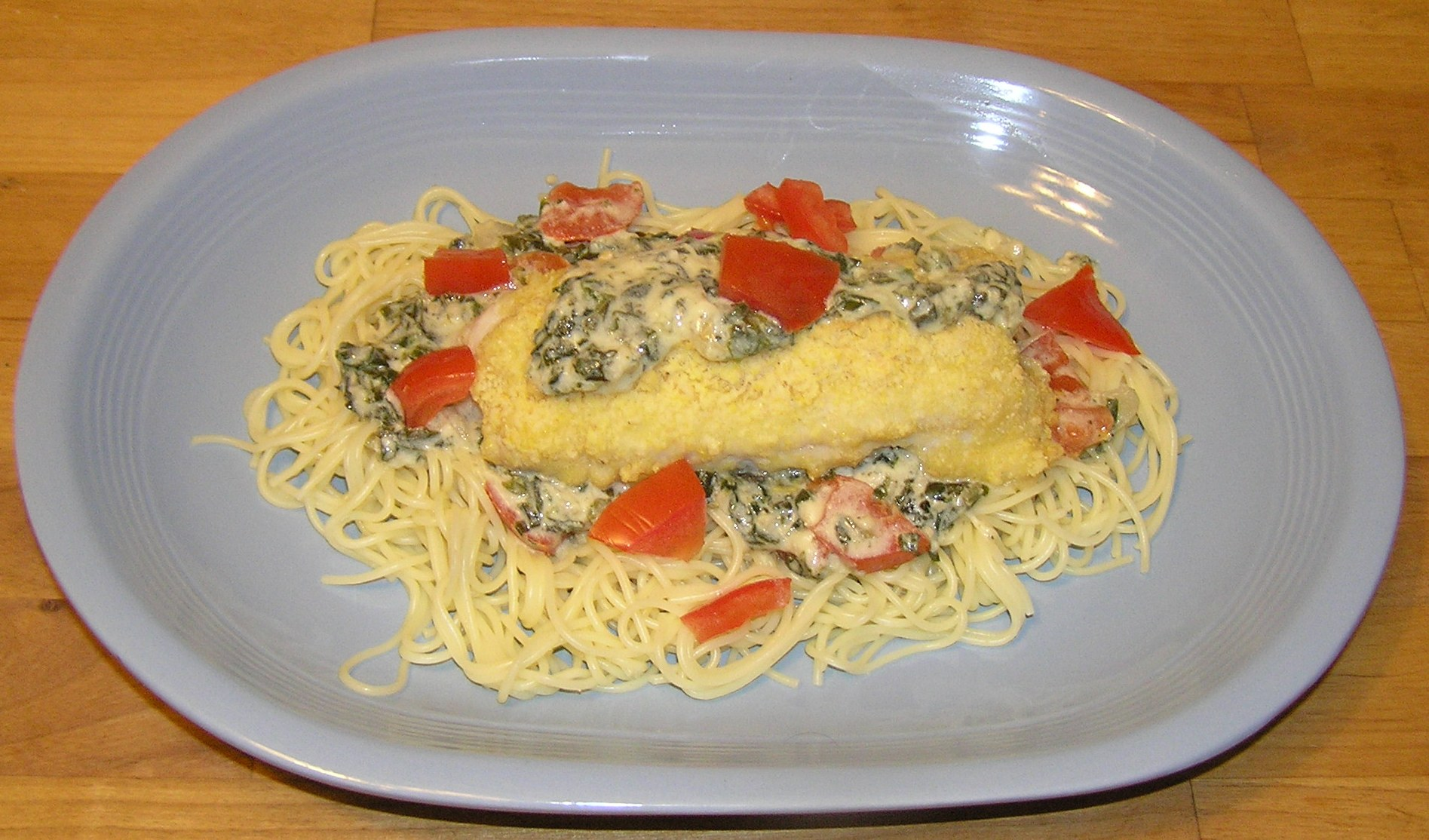 Stuffed Sole with Spicy Spinach Alfredo Pasta | anotherfoodieblogger
