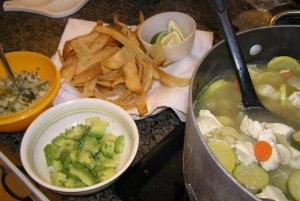 Tortilla Soup and Condiments