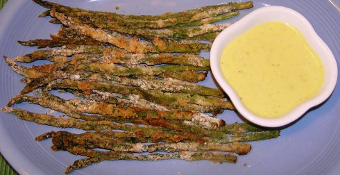 Baked Asparagus Fries and Roasted Garlic Lemon Dipping Sauce