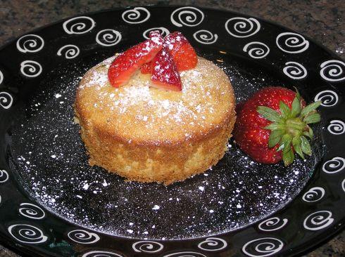 Lemon Poppy Seed Angel Food Cake with Strawberries