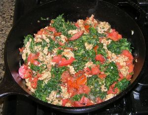 Sausage Spinach and Tomatoes