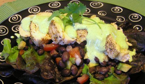 Cheese-Stuffed Chicken with Black Bean Salad and Cilantro-Lime Dressing