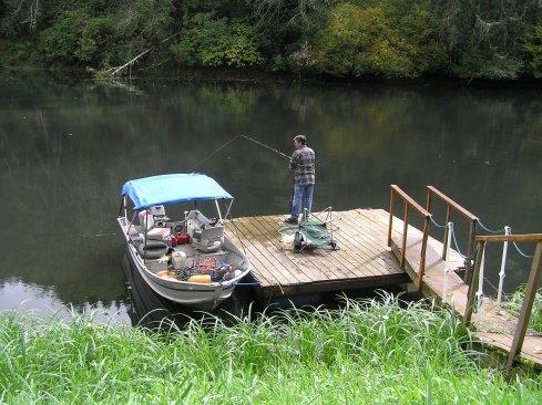 Fishing Off Dock on Siletz