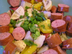 Sausage and Veggies Ready for Foil Packet