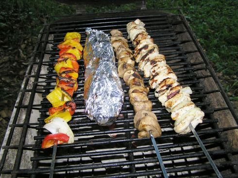 Chicken and Veggie Kabobs with Foil-Pack Potatoes