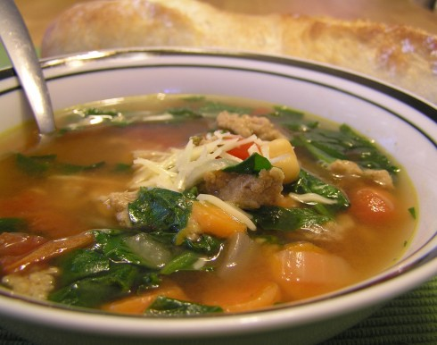 Italian Ground Turkey and Spinach Soup