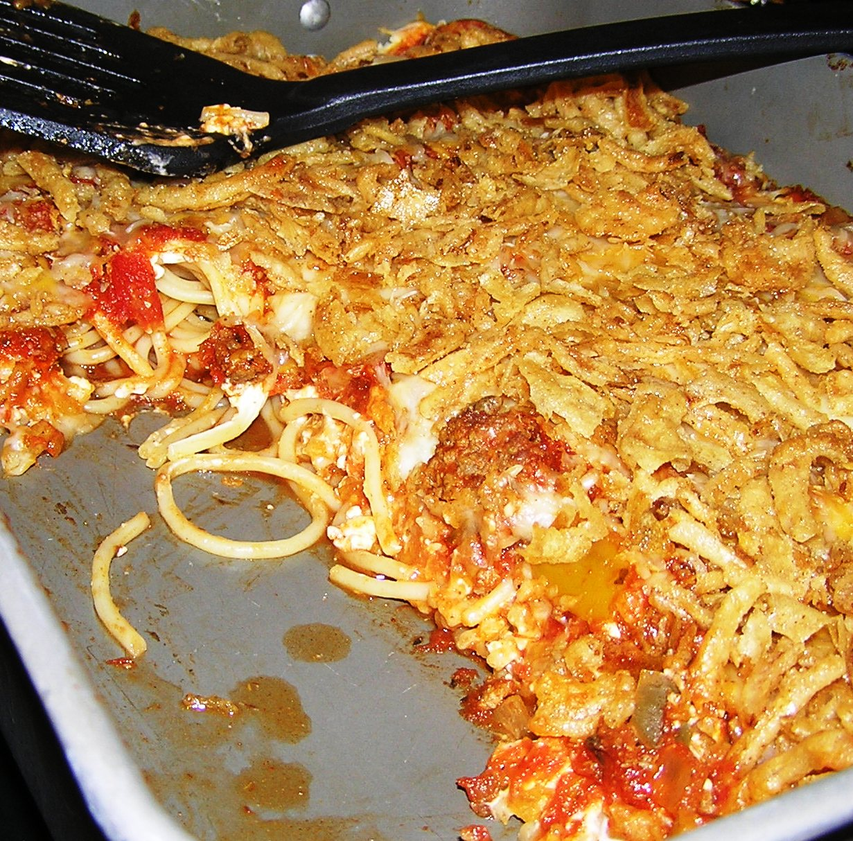 Crunchy Creamy Baked Spaghetti | anotherfoodieblogger