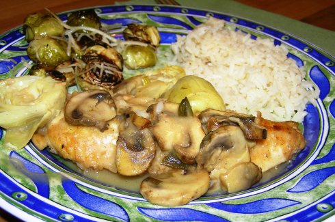 Lemony Chicken with Artichokes and Mushrooms