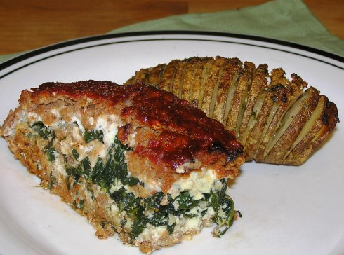 Spinach Ricotta Meatloaf Roll with Hasselback Potatoes