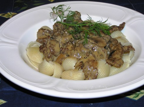 Classic Stroganoff over Shells