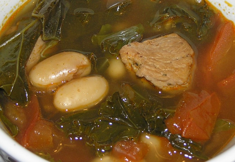 Kale and Pork Soup with White Beans