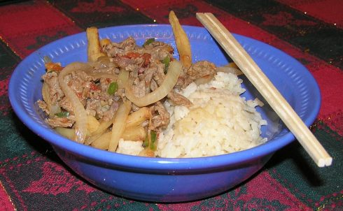 Spicy Beef Onions and French Fries Stir Fry
