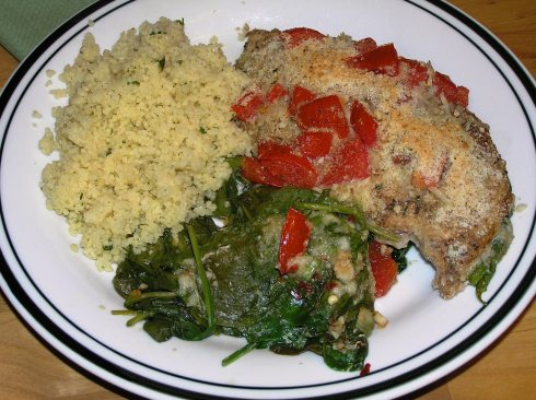 Balsamic Chicken, Spinach, and Tomato Bake Dinner Plated.