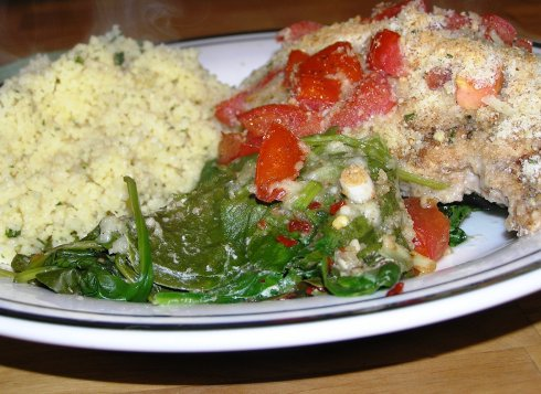 Balsamic Chicken, Spinach, and Tomato Bake Dinner, Steaming and Ready to Devour