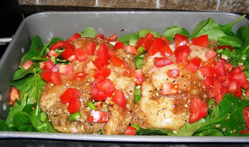 Balsamic Chicken, Spinach, and Tomatoes Ready to Bake