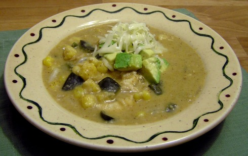 Creamy Poblano Tortilla Soup with Chicken and Hominy