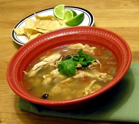 Black Bean, Chicken, and Hominy Soup