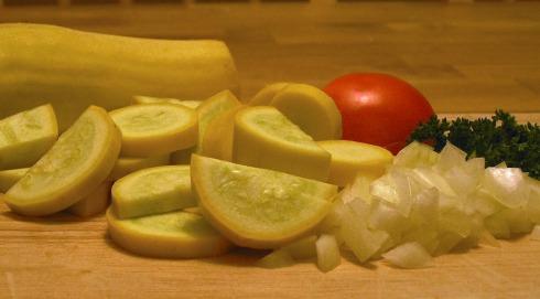 Chopped Squash, Onion, and Tomato