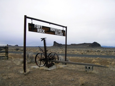 Fort Rock Homestead Village ~ with Fort Rock in Background