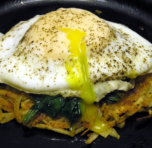 Hash Browns Spinach and Froached Egg Stack Cut