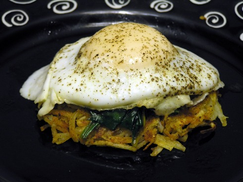 Hash Browns Spinach and Froached Egg Stack
