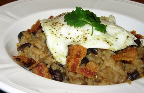 Spicy Black Beans and Rice with Fried Egg and Bacon