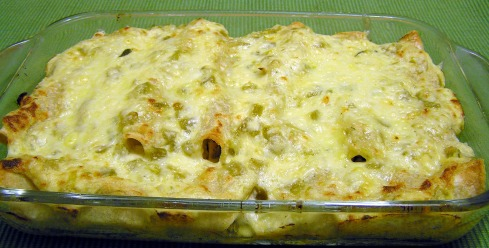 Dish of Chicken and Spinach Enchiladas Suizas