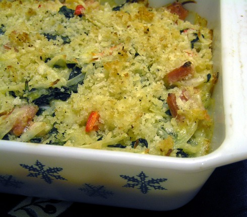 Hash Brown, Ham, and Spinach Casserole