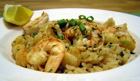 Bay Scallops and Shrimp Scampi with Rice