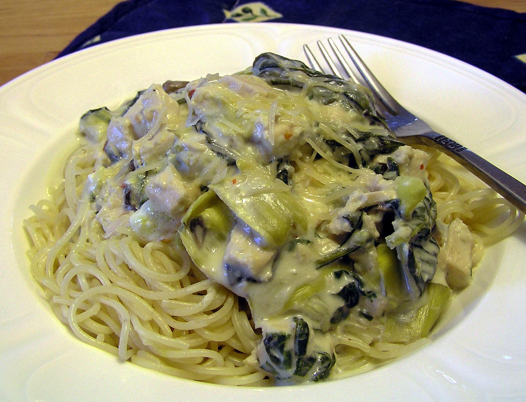 Chicken, Spinach, Artichoke, and Mushroom Alfredo Pasta