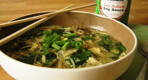 Egg Drop Soup with Mushrooms and Spinach