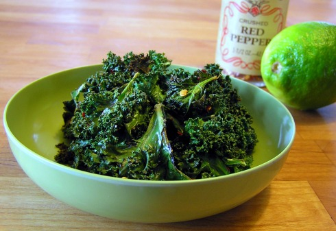 Lime and Crushed Red Pepper Flakes Kale Chips