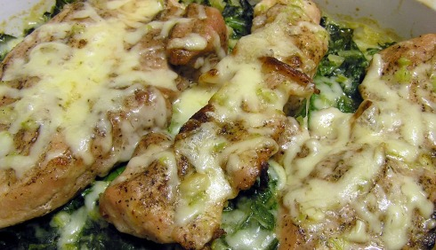 Pork Chop Spinach Casserole with Melted Cheese