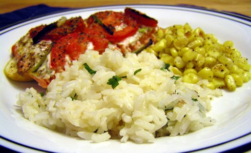 Cilantro Lime Rice, Roasted Corn, and Grilled Salmon