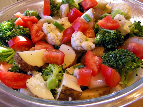 Marinating Broccoli Cauliflower Potatoes Onions and Tomatoes