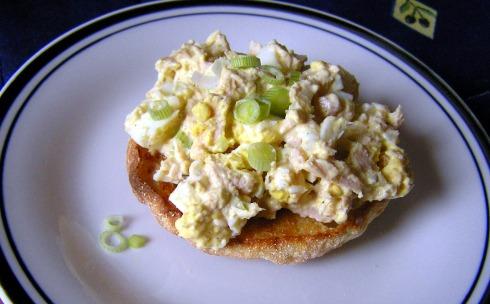 Tuna and Egg Salad on English Muffin