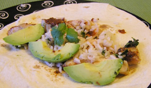 Grilled Chicken Taco with Rice, Salsa and Avocado