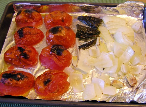 Roasted Tomatoes, Chiles and Onions