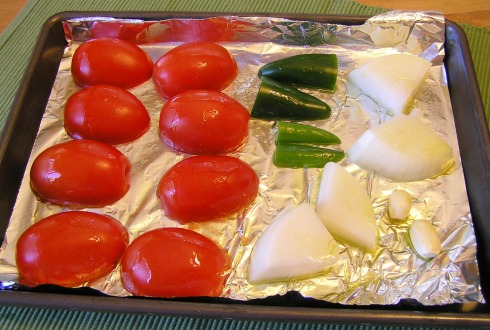 Tomatoes Chiles and Onions Ready to Roast