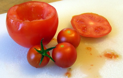 Cored Tomato and Juices