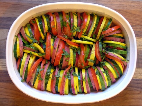 Roasted Summer Vegetable Tian Assembled