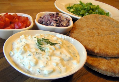 Tzatziki, Flatbread, and Condiments.