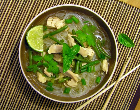 Asian Green Bean Chicken Noodle Soup