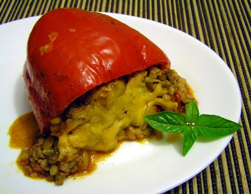 Harvest Grains and Pork Stuffed Red Bell Peppers