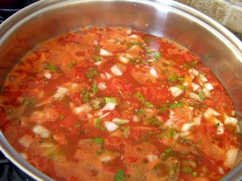 Pot of Simmering Salsa