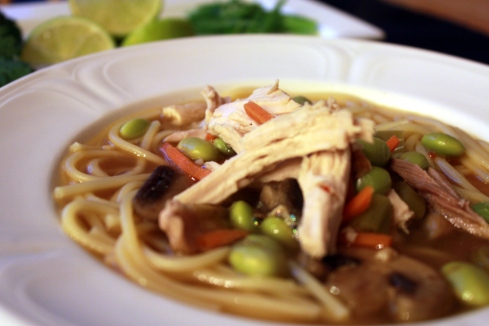 Asian Chicken Noodle Soup with Edamame, Mushrooms, and Carrots