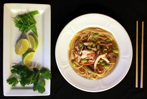 Asian Chicken Noodle Soup with Edamame Mushrooms and Carrots