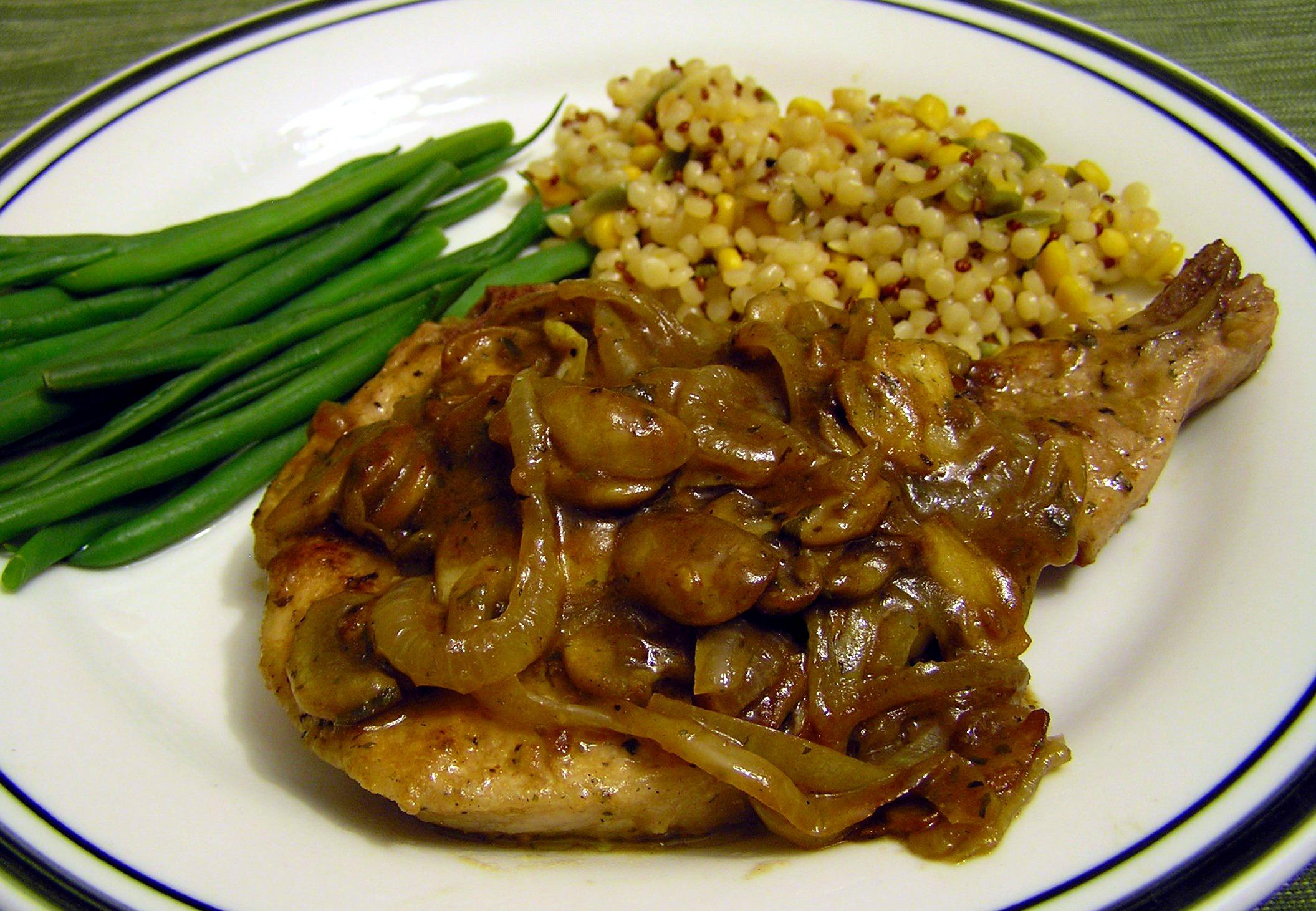 Caramelized Onion and Mushroom Balsamic Gravy over Pork ...