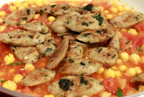 Chicken Sausage in Tomato Garbanzo Mixture